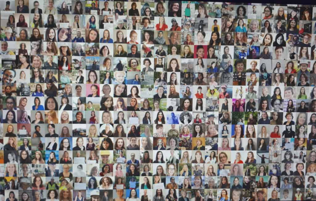 Wall of pictures of women working in core STEM roles across the UK