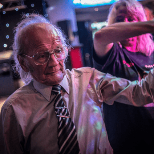 Old age man dancing
