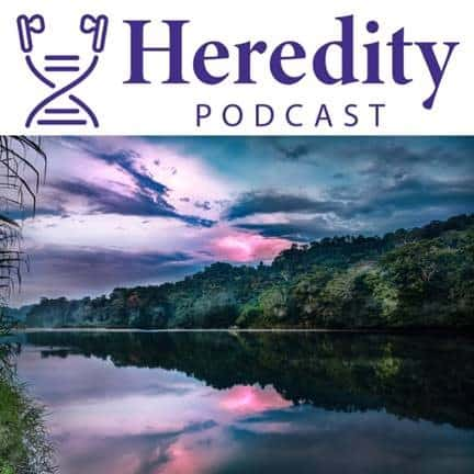 Heredity podcast logo above a photograph of a river landscape